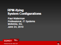 RPM-ifying System Configurations