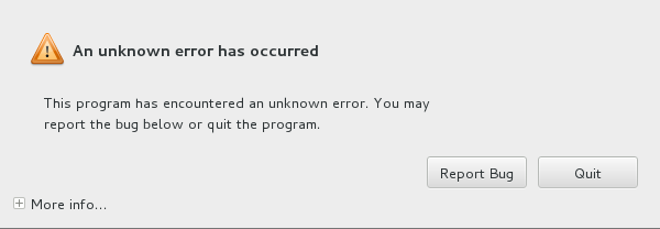An unknown error has occurred
