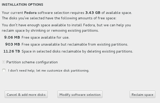 Installation Options Dialog